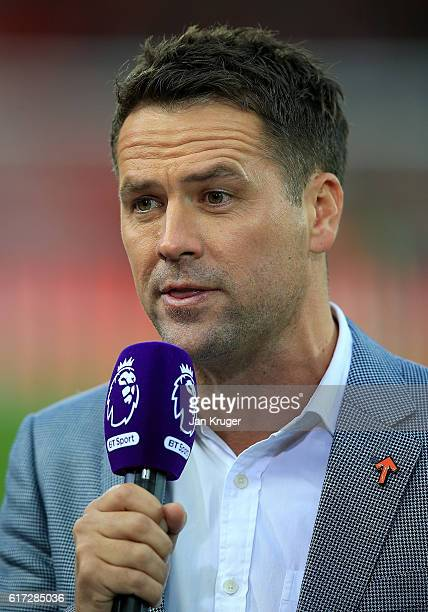 Michael Owen commentates during the Premier League match between Liverpool and West Bromwich Albion at Anfield on October 22 2016 in Liverpool England