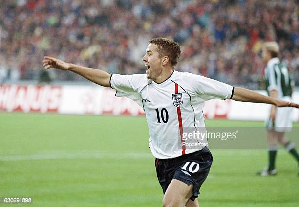 Michael Owen of England celebrates after scoring his second goal and England's third during the FIFA World Cup Qualifying match between Germany and...