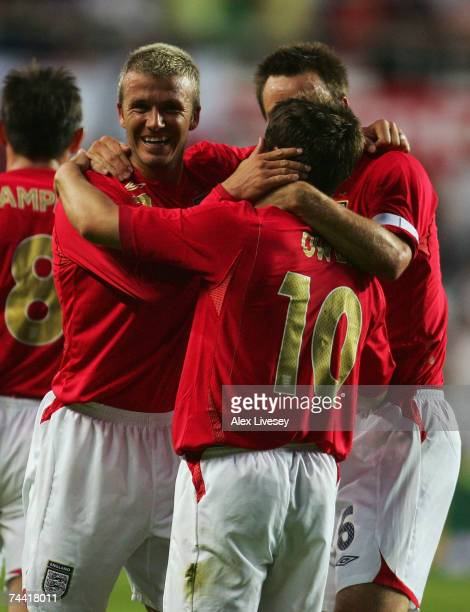 Michael Owen of England celebrates his goal with David Beckham during the Euro 2008 qualifying match between Estonia and England at the ALe Coq Arena...