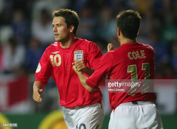Michael Owen of England celebrates his goal with Joe Cole during the Euro 2008 qualifying match between Estonia and England at the ALe Coq Arena on...