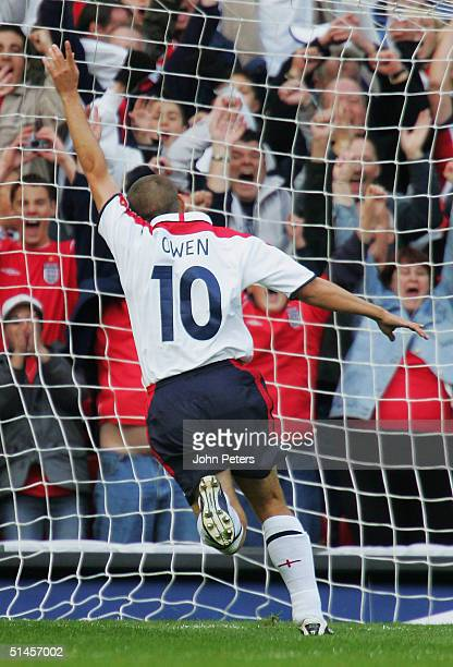 Michael Owen of England celebrates the first goal during the England v Wales World Cup qualifier at Old Trafford on October 9 in Manchester England