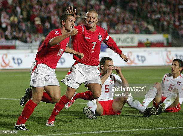 Michael Owen of England celebrates their second goal during the 2006 World Cup Quailfier Group 6 match between Poland and England at the Slaski...