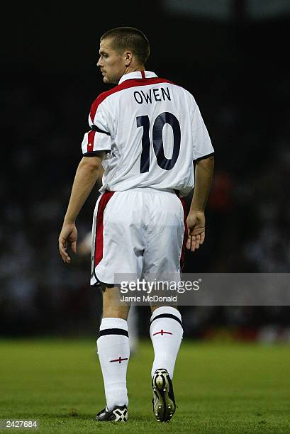 Michael Owen of England in action during the International Friendly match between England and Croatia held on August 20 2003 at Portman Road in...