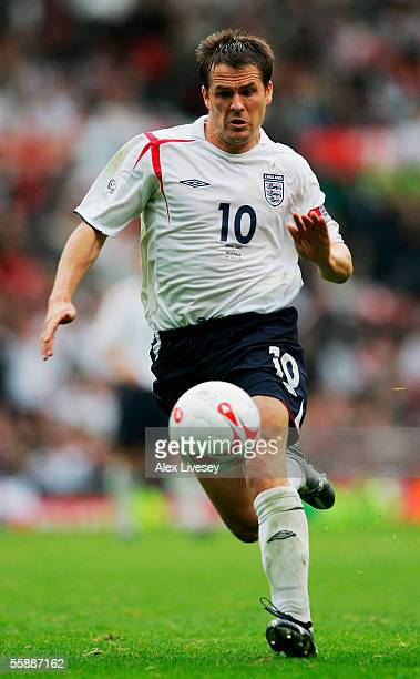 Michael Owen of England in action during the World Cup 2006 Group 6 qualifying match between England and Austria at Old Trafford on October 8 2005 in...