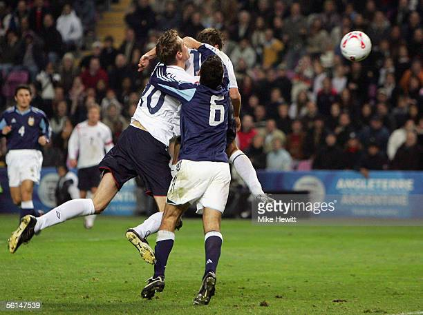 Michael Owen of England scores their third goal during the International friendly match between England and Argentina at the Stade de Geneve on...