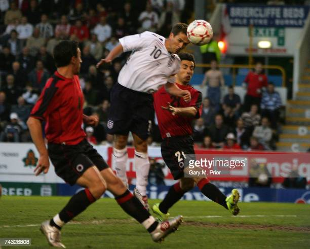 Michael Owen of England tries to get his head to a cross during the International friendly between England B and Albania at Turf Moor on May 25, 2007...