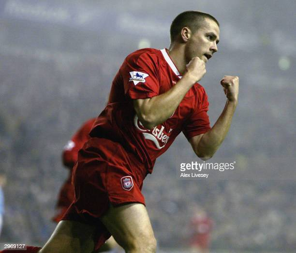 Michael Owen of Liverpool celebrates after scoring the first goal during the FA Barclaycard Premiership match between Liverpool and Manchester City...