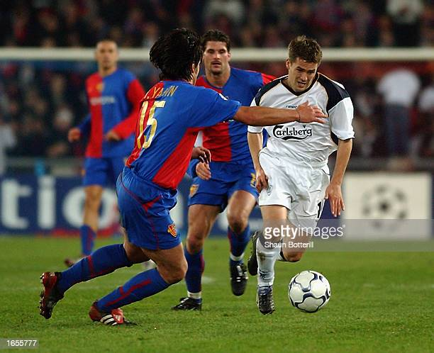 Michael Owen of Liverpool charges forward during the UEFA Champions League First Phase Group B match between FC Basel and Liverpool held on November...