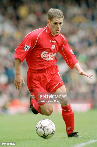 Michael Owen of Liverpool in action during the FA Carling Premiership match Liverpool and Leeds United at Anfield on April 13 2001 in Liverpool...