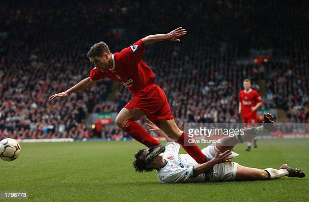 Michael Owen of Liverpool takes the ball past Robbie Stockdale of Middlesbrough during the FA Barclaycard Premiership match held on February 8 2003...