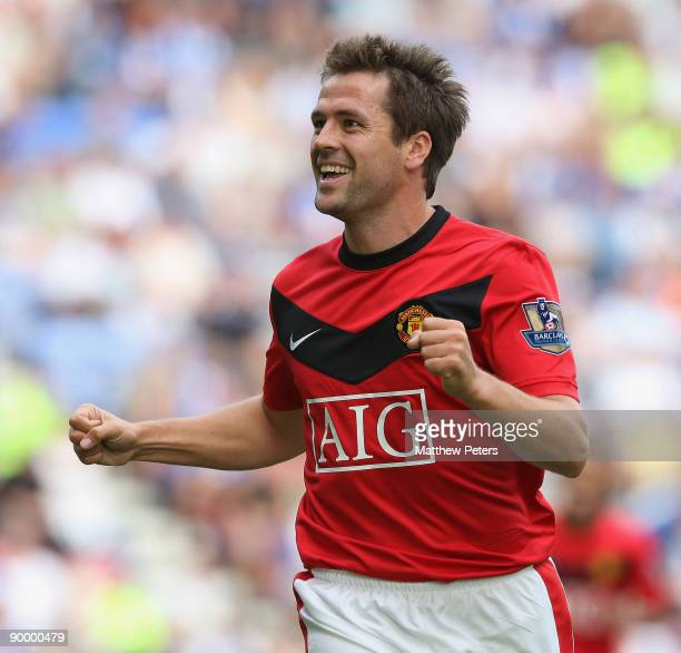 Michael Owen of Manchester United celebrates scoring the 40 goal during the FA Barclays Premier League match between Wigan Athletic and Manchester...