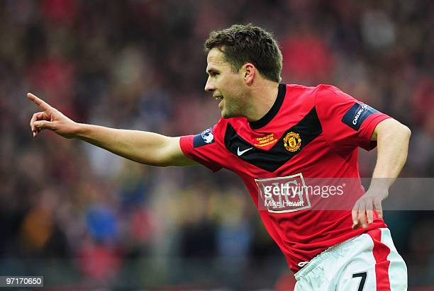 Michael Owen of Manchester United scores their first goal during the Carling Cup Final between Aston Villa and Manchester United at Wembley Stadium...