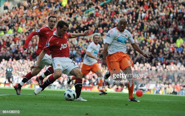 Michael Owen of Manchester United scoring a goal during the Barclays Premier League match between Manchester United and Blackpool at Old Trafford on...