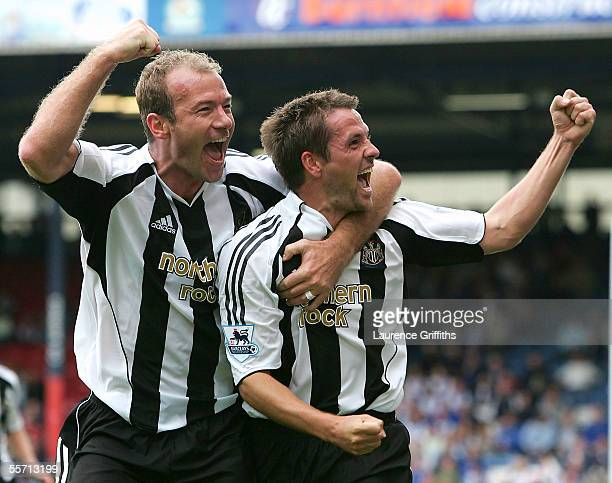 Michael Owen of Newcastle is congratulated by Alan Shearer on scoring the second goal during the Barclays Premiership match between Blackburn Rovers...