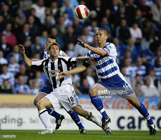 Michael Owen of Newcastle United challenges Ivar Ingimarsson of Reading during the Barclays Premiership match between Reading and Newcastle United at...