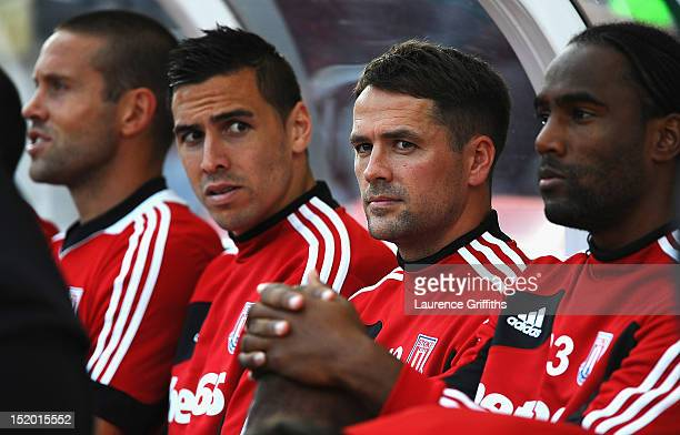 Michael Owen of Stoke City on the bench prior to the Barclays Premier League match between Stoke City and Manchester City at Britannia Stadium on...