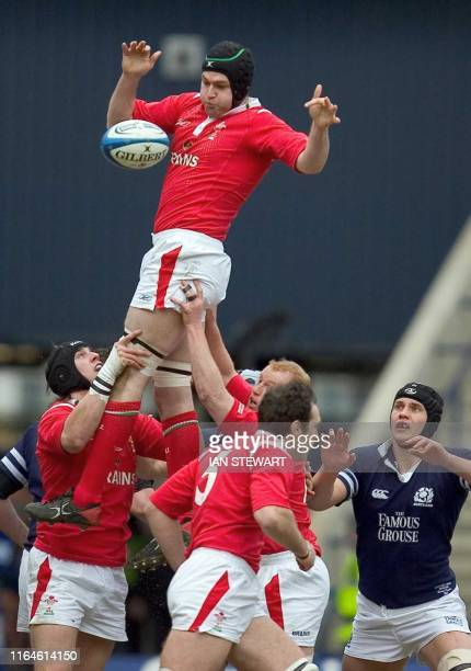 Michael Owen of Wales collects at a line out during s team's Six Nationes Rugby match against Scotland in Edinburgh 13 March 2005 AFP PHOTO/IAN...