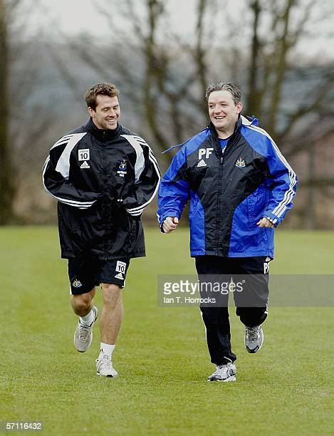 Michael Owen trains with club physio Paul Ferriss during a Newcastle United training session on March 17 2006 in Newcastle England
