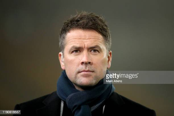 Michael Owen working as a pundit for Amazon Prime during the Premier League match between Wolverhampton Wanderers and Manchester City at Molineux on...
