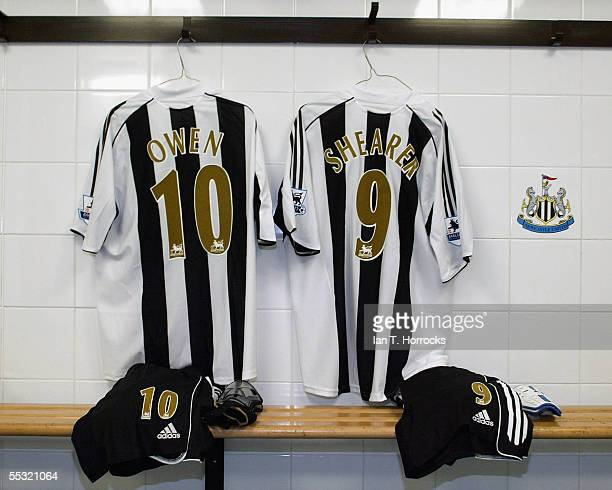 Michael Owen's shirt hangs beside Alan Shearer's ahead of Owen's debut performance for Newcastle United in this weekend's match between Newcastle...