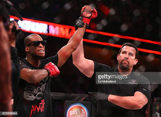 Michael Page celebrates his 1st round submission win over Jeremie Holloway at Bellator 153 at Mohegan Sun Arena on April 22, 2016 in Uncasville,...
