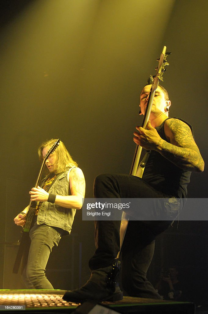 Michael Paget and Josh Smith of Bullet For My Valentine perform on stage at The Roundhouse on March 17, 2013 in London, England.