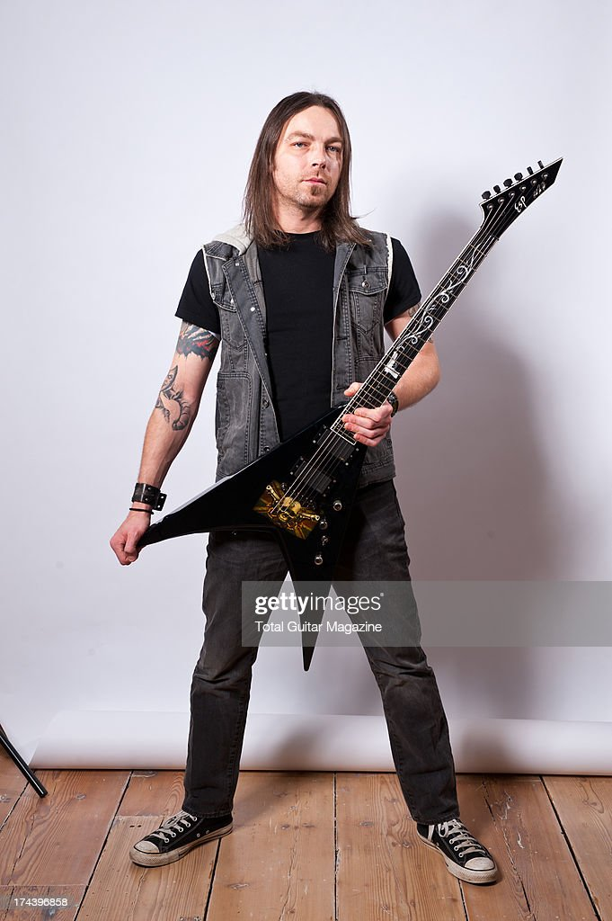 Michael Paget, lead guitarist and backing vocalist of Welsh heavy metal band Bullet for My Valentin, photographed during a portrait shoot for Total Guitar Magazine, December 4, 2012.