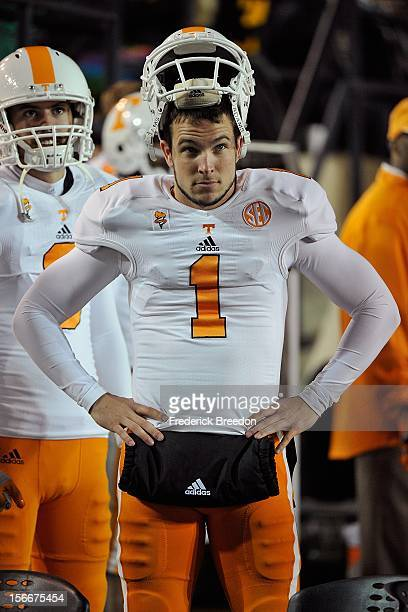 Michael Palardy of the University of Tennessee walks the sideline during a game against the Vanderbilt Commodores at Vanderbilt Stadium on November...