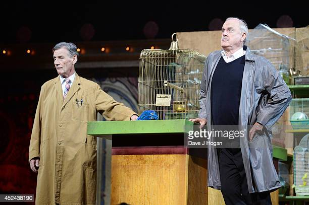 Michael Palin and John Cleese perform on the closing night of 'Monty Python Live ' at The O2 Arena on July 20 2014 in London England