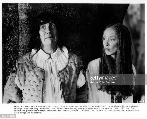 """Michael Palin and Shelley Duvall are victimized by the Time Bandits in a scene from the movie """"Time Bandits"""". Circa 1981."""