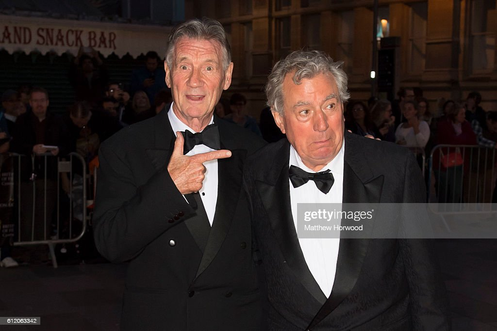 Michael Palin (L) and Terry Jones arrive for the 25th British Academy Cymru Awards at St David's Hall on October 2, 2016 in Cardiff, Wales.