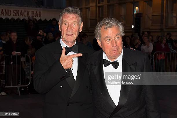 Michael Palin and Terry Jones arrive for the 25th British Academy Cymru Awards at St David's Hall on October 2 2016 in Cardiff Wales