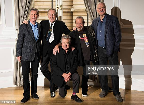 Michael Palin, Eric Idle, Terry Jones, Terry Gilliam and John Cleese attend the Monty Python Reunion announcement press conference at the Corinthia...