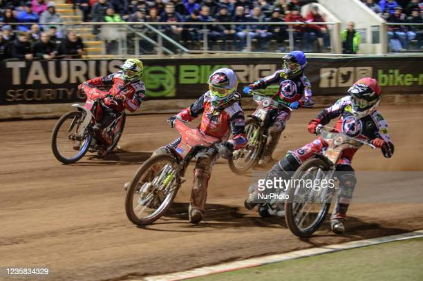 Michael Palm Toft and Chris Harris lead \ bv1\ and Charles Wright during the SGB Premiership Grand Final 1st Leg between Belle Vue Aces and...