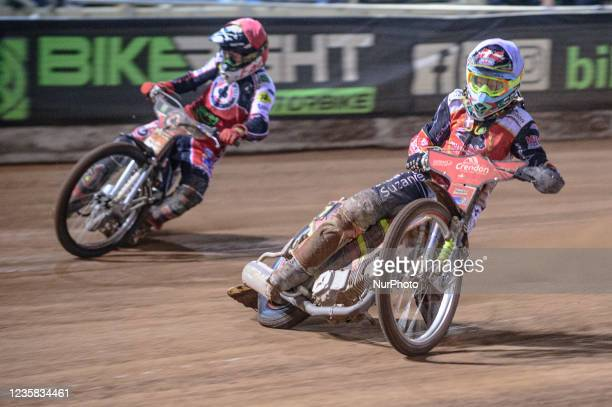 Michael Palm Toft inside Dan Bewley during the SGB Premiership Grand Final 1st Leg between Belle Vue Aces and Peterborough Panthers at the National...