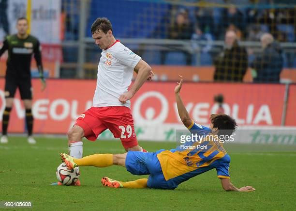 Michael Parensen of 1 FC Union Berlin and SeungWoo Ryu of Eintracht Braunschweig in action during the game between Eintracht Braunschweig and Union...