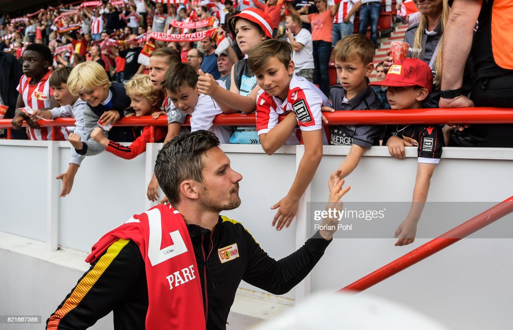 Michael Parensen of 1 FC Union Berlin before the game between Union Berlin and the Queens Park Rangers on july 24, 2017 in Berlin, Germany.