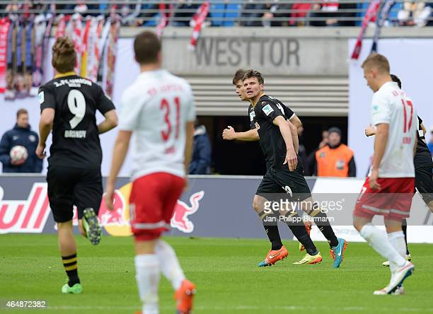 Michael Parensen of 1 FC Union Berlin celebrates after scoring the 2:1 during the game between RB Leipzig and 1 FC Union Berlin on March 1, 2015 in...