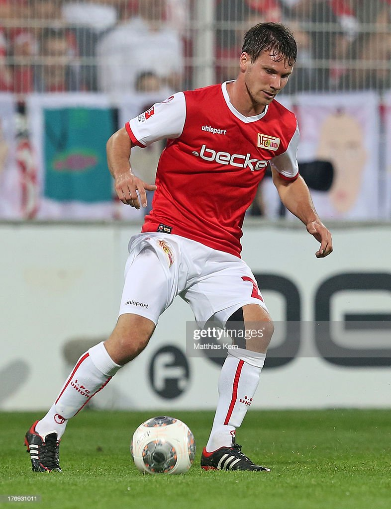 Michael Parensen of Berlin runs with the ball during the Second Bundesliga match between 1.FC Union Berlin and Fortuna Duesseldorf at Stadion an der Alten Foersterei on August 19, 2013 in Berlin, Germany.