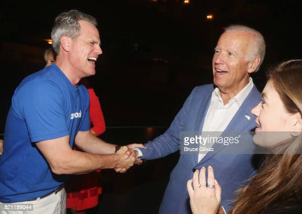 Michael Park 47th Vice President of the United States Joseph Biden and Laura Dreyfuss chat backstage at the hit musical 'Dear Evan Hansen' on...