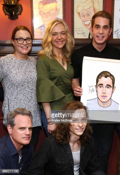 Michael Park Jennifer Laura Thompson Rachel Bay Jones Mike Faist and Ben Platt during the his Sardi's portrait unveiling at Sardi's on May 30 2017 in...