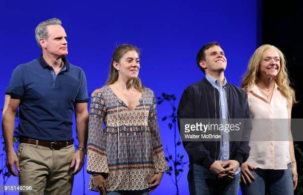 Michael Park Laura Dreyfuss Rachel Bay Jones with Taylor Trench as he takes his bows as the newest Evan in 'Dear Evan Hansen' on Broadway at the...