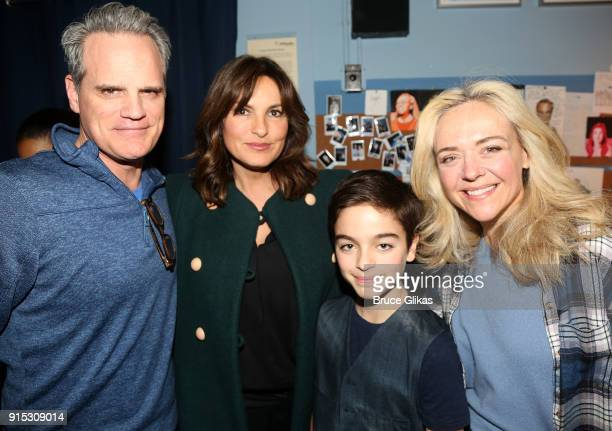 Michael Park Mariska Hargitay son August Hermann and Rachel Bay Jones pose backstage as Taylor Trensch joins the cast of 'Dear Evan Hansen' on...