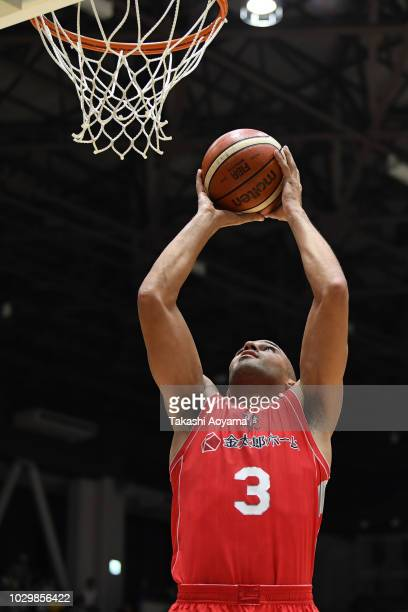 Michael Parker of the Chiba Jets goes up for a shot during the B.League Early Cup Kanto 3rd Place Game between Chiba Jets and Sun Rockers Shibuya at...