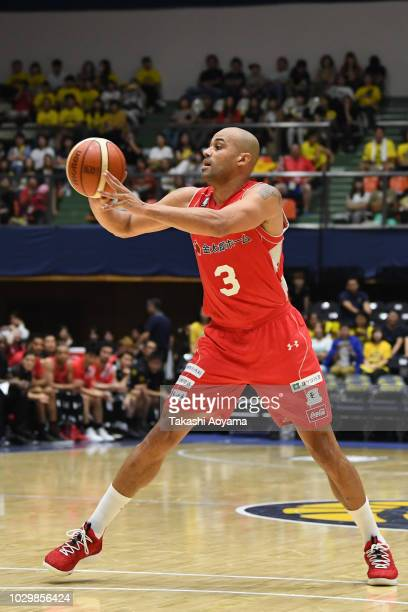 Michael Parker of the Chiba Jets in action during the B.League Early Cup Kanto 3rd Place Game between Chiba Jets and Sun Rockers Shibuya at Brex...