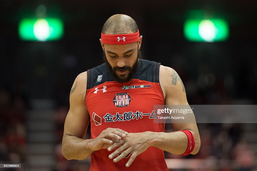 Michael Parker #3 of the Chiba Jets reacts during the B. League game between Chiba Jets and Osaka Evessa at Funabashi Arena on January 29, 2017, Funabashi, Japan.