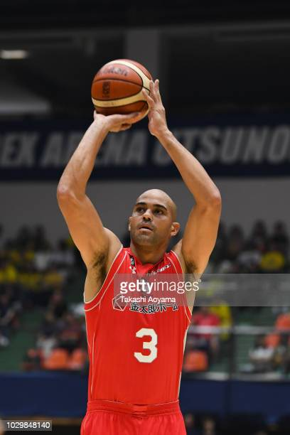 Michael Parker of the Chiba Jets shoots a free throw during the B.League Early Cup Kanto 3rd Place Game between Chiba Jets and Sun Rockers Shibuya at...