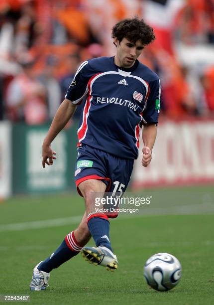 Michael Parkhurst of the New England Revolution passes the ball during the 2006 MLS Cup against the Houston Dynamo at Pizza Hut Park on November 12...