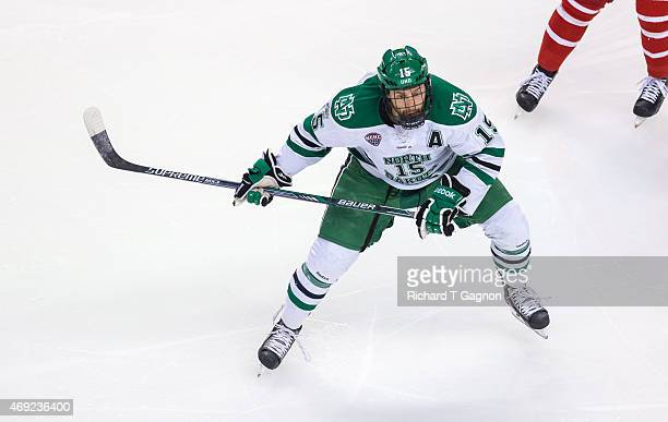 Michael Parks of North Dakota skates against the Boston University Terriers during the 2015 NCAA Division I Men's Hockey Frozen Four Championship...