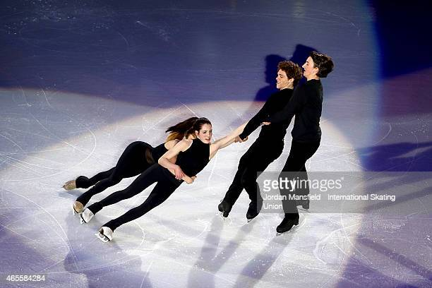 Michael Parsons and Quinn Carpenter of the USA spin Rachel Parsons and Lorraine McNamara of the USA during the Gala Exhibition on Day 5 of the ISU...